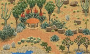 A desert garden built around a Mexican-style gazebo.