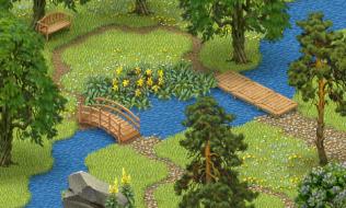 Garden with a stream. Screenshot form a small phone (LG Optimus One)