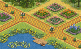 A rather formal setting with terracotta paths and flowerbeds. Made using the free app.