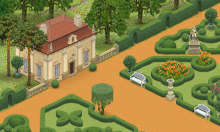 A apart of a large classic garden.